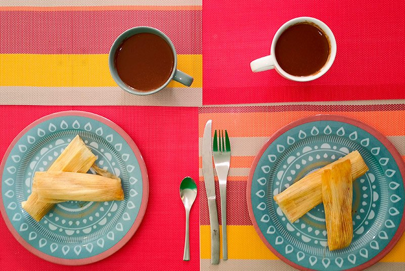 Tamales de pollo y champurrado.