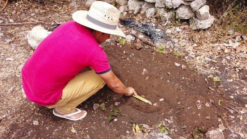 Cocinero desenterrando la cochinita pibil
