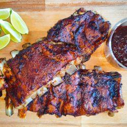 Carne para hacer tacos de costilla de cerdo bbq